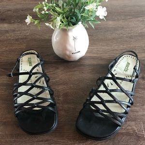 Earth Black Leather Sizzle Sandals (8)